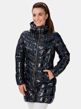 Modrý dámsky prešívaný vzorovaný kabát SAM 73