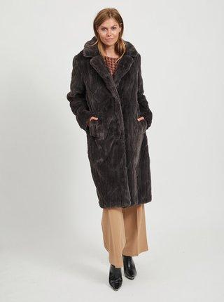 Tmavošedý kabát z umelého kožúšku VILA