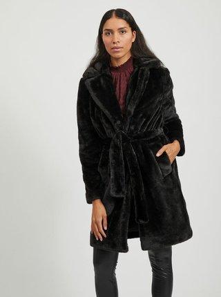 Čierny kabát z umelého kožúšku VILA