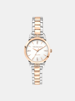 Dámské hodinky s ocelovým páskem ve stříbrné barvě s krystaly Trussardi