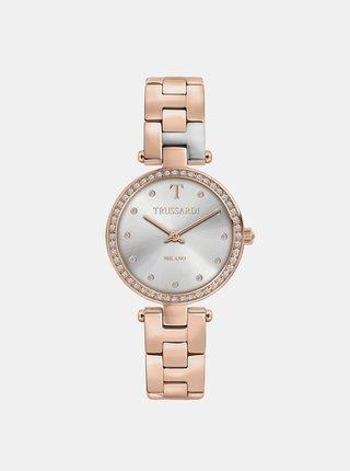 Dámské hodinky s ocelovým páskem v růžovozlaté barvě s krystaly Trussardi