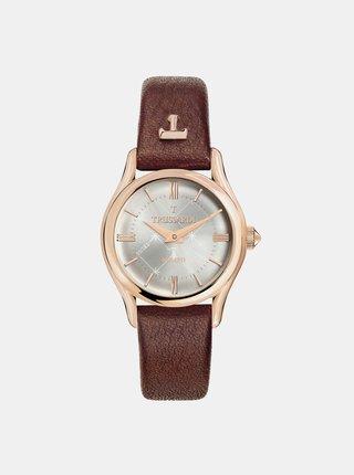 Dámské hodinky s hnědým koženým páskem Trussardi