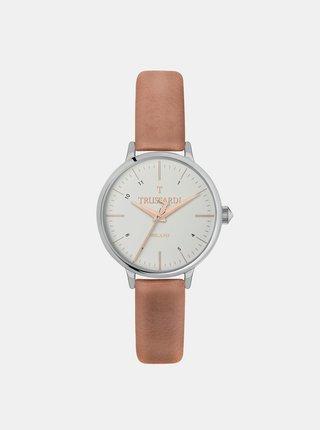 Dámské hodinky s béžovým koženým páskem Trussardi