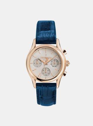 Pánské hodinky s modrým koženým páskem Trussardi