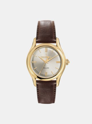 Pánské hodinky s hnědým koženým páskem Trussardi