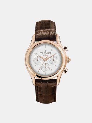 Pánské hodinky s tmavě hnědým koženým páskem Trussardi