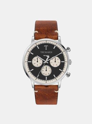 Pánske hodinky s hnedým koženým remienkom Trussardi