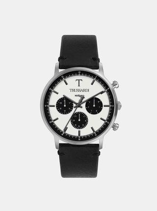 Pánské hodinky s černým koženým páskem Trussardi