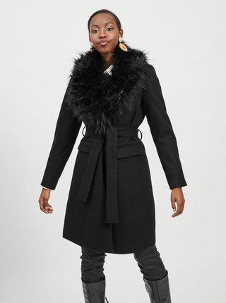 Čierny kabát s odnímateľným kožúškom VILA