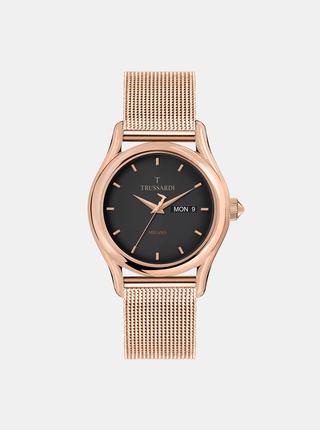Pánské hodinky s ocelovým páskem v růžovozlaté barvě Trussardi