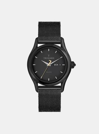 Pánské černé hodinky s ocelovým páskem Trussardi