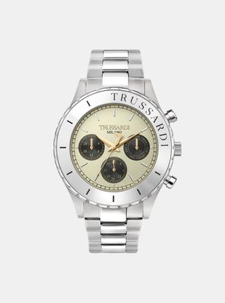 Pánské hodinky s ocelovým páskem ve stříbrné barvě Trussardi