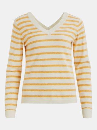 Žluto-krémový pruhovaný dámský svetr .OBJECT