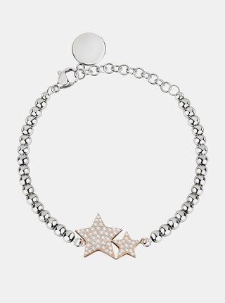 Náramek ve stříbrné barvě s krystaly a přívěsky Morellato