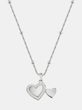 Řetízek ve stříbrné barvě se srdcem s krystaly Morellato