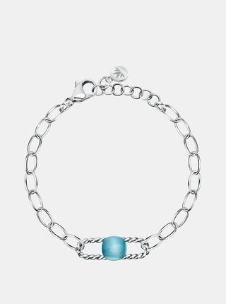 Ocelový náramek ve stříbrné barvě s modrý kamenem Morellato