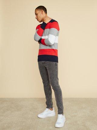 Červeno-šedý pánsky pruhovaný sveter ZOOT Matt