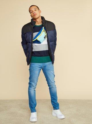 Zeleno-šedý pánsky pruhovaný sveter ZOOT Matt