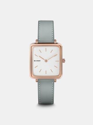 Dámské hodinky se světle modrým koženkovým páskem Millner Royal