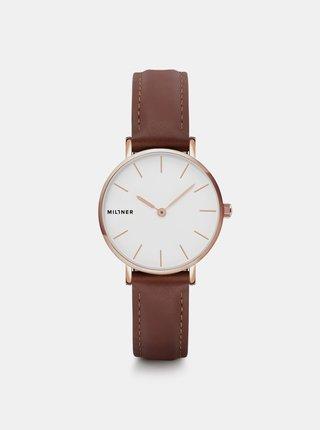 Dámské hodinky s hnědým koženým páskem Millner Mini