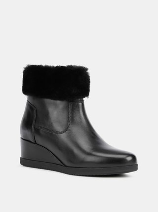 Černé dámské kožené kotníkové boty na klínku Geox