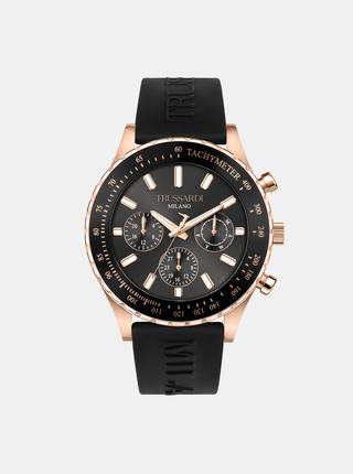 Pánské černé hodinky se silikonovým páskem Trussardi