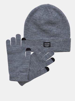 Sada čiapky a rukavíc v šedej farbe Jack & Jones