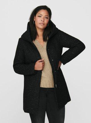 Čierny kabát s prímesou vlny ONLY CARMAKOMA