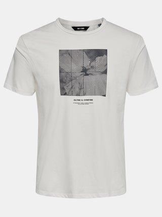 Krémové tričko s potiskem ONLY & SONS