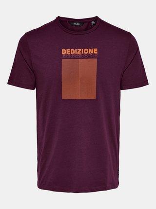Vínové tričko s potlačou ONLY & SONS