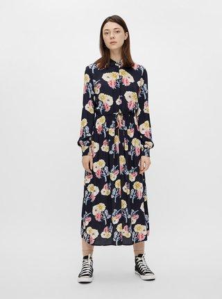 Tmavomodré kvetované košeľové midišaty Pieces