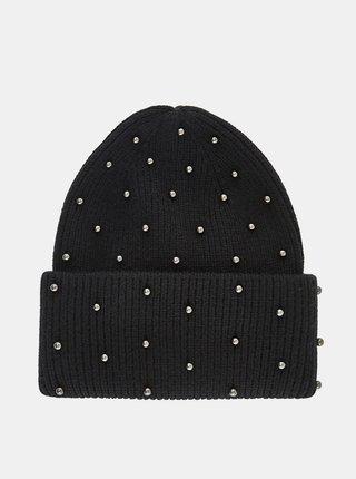Čierna čiapka s ozdobnými detailmi Pieces