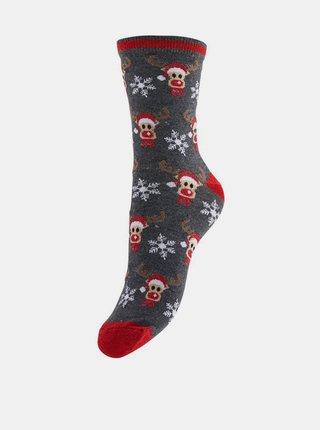 Sada dvoch párov šedých ponožiek s vianočným motívom Pieces
