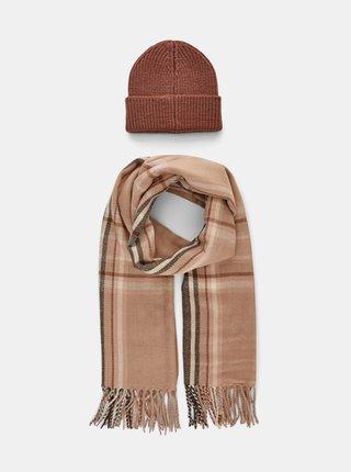 Sada čiapky a šálu v hnedej farbe Pieces