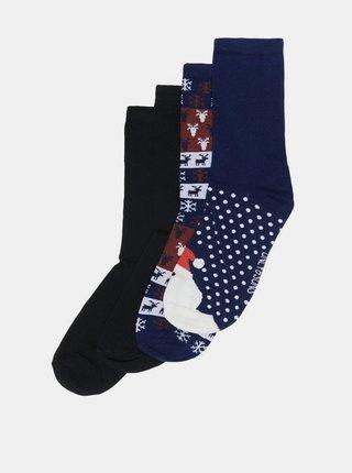 Sada štyroch párov ponožiek v modrej farbe s vianočným motívom ONLY & SONS