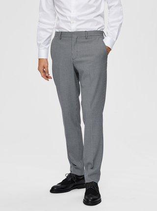 Šedé kostkované oblekové kalhoty Selected Homme