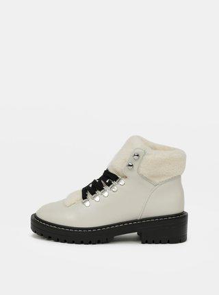 Krémové kotníkové zimní boty ONLY