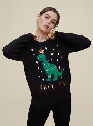 Čierny vianočný sveter Dorothy Perkins