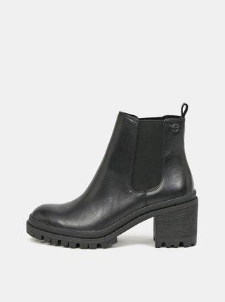 Čierne dámske kožené chelsea topánky Tamaris
