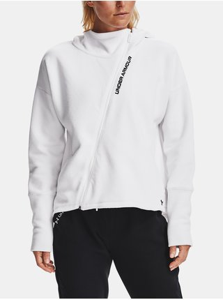 Bílá mikina Under Armour Recover Fleece FZ Hoodie