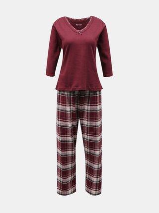 Vínové kostkované pyžamo Dorothy Perkins