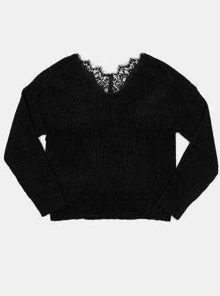 Černý svetr s krajkou na zádech ONLY