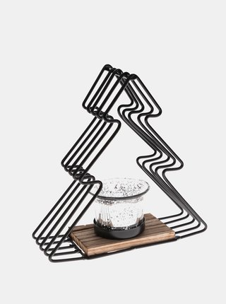 Čierny kovový svietnik v tvare stromčeku Dakls