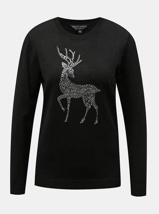 Čierny sveter s vianočným motívom Dorothy Perkins