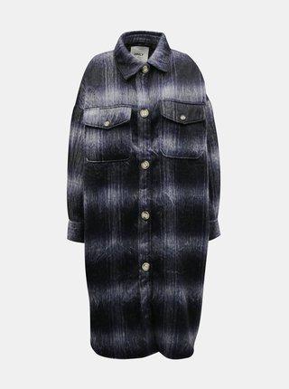 Tmavě modrý kostkovaný lehký kabát ONLY
