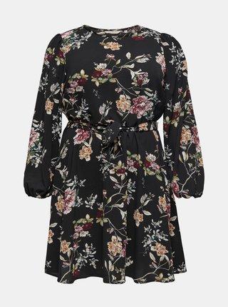 Černé květované šaty ONLY CARMAKOMA Luxmila