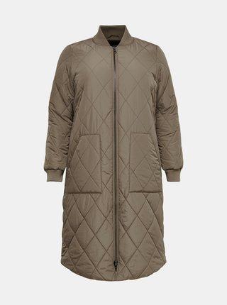 Hnědý prošívaný kabát ONLY CARMAKOMA Carrot