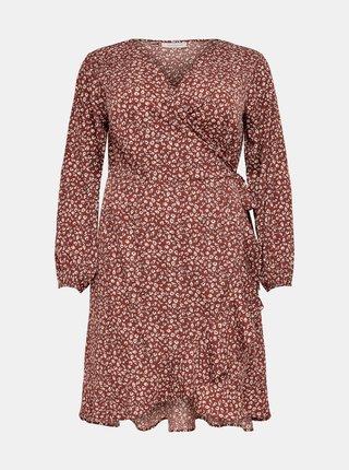 Hnedé vzorované šaty ONLY CARMAKOMA Livia