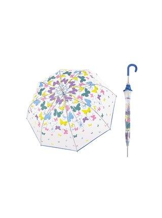 Doppler Transparent Spring dámský průhledný deštník s barevnými motýlky - Modrá