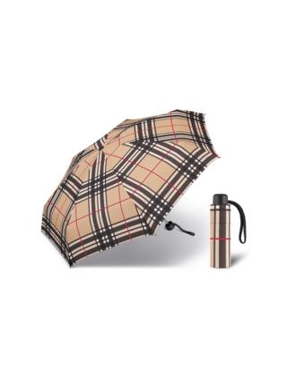 Happy Rain Petito Checks Camel dámský skládací mini deštník - Béžová